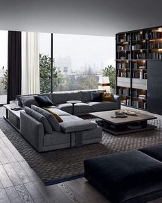 45 Awesome Modern Apartment Living Room Design Ideas 45 Awesome Modern Apartment Wohnzimmer Design-I Living Room Modern, Home Living Room, Apartment Living, Interior Design Living Room, Living Room Decor, Small Living, Modern Couch, Living Room Tables, Modern Sectional