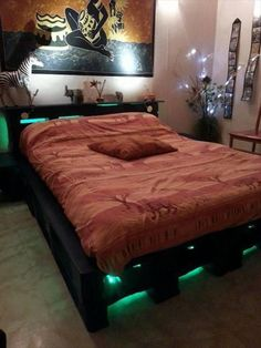 Rustic Pallet #Bed Frame with Lights - 42 DIY Recycled Pallet Bed Frame Designs | 101 Pallet Ideas - Part 2