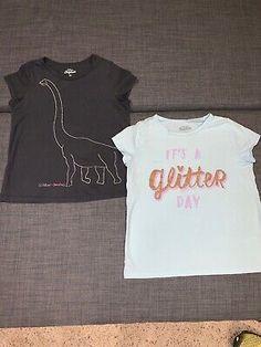 NWT Crazy 8 Girls Sz 6 7 Tee Shirt Top Geo Jean Shorts Adjustable Waist 2-PC SET