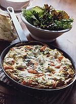 Chive and Goat Cheese Frittata! Delicious - just have to keep a handle on the portions! The Mediterranean Menu Plan Rocks!