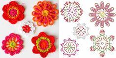 Gráfico de 5 flores em crochê.  http://artesanatonarede.com.br/grafico-5-flores-de-croche/