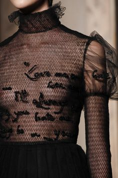 Transparency - sheer black dress with embroidery; couture fashion details // Valentino Fall 2016