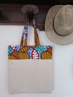 Cotton canvas shop bag with African fabric African by TabantuLab