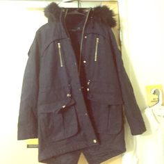 ASOS navy coat with black fur collar gold chain Heavy padding inside ASOS Jackets & Coats