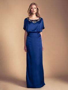 Long Deco Bijoux Kaftan in blue silk satin from Temperly London