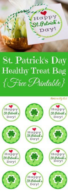 St. Patrick's Day Healthy Treat Bag with Free Printable.  Pack this adorable Pot O'Gold snack for you child or bring to a class party this St. Patrick's Day.  Fill with green grapes or veggie pirate booty for a healthy snack.  Full tutorial and printable.