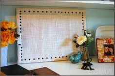 diy nail head burlap