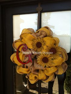 Burlap Wreath with chevron ribbon, sunflowers and initial