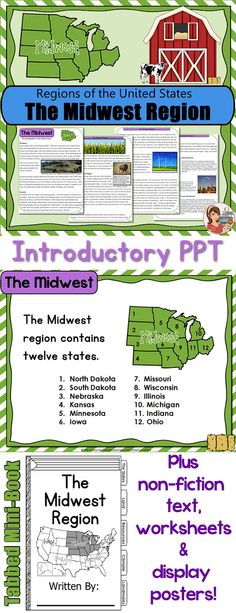 Midwest Region - Comprehensive resource including PowerPoint, student guided notes, informational text packet, worksheets, states & capitals quiz, posters and unique mini-book.