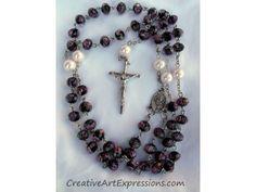 Creative Art Expressions Handmade Black & Pink Rose Rosary.
