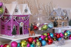 Glitter Holiday Houses (Swell Noel Idea #9)   Positively Splendid {Crafts, Sewing, Recipes and Home Decor}