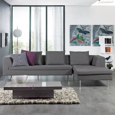 Laguna large right hand corner sofa grey felt