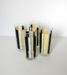 Vintage  Glass Tumblers Striped Yellow and Black  by Ocean Thailand Barware Set of 4 $26