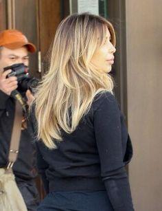 Candids of kim kardashians hair color on point blonde balayage ombré