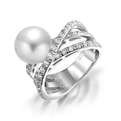 Bling Jewelry Pave CZ Modern Criss Cross Pearl Cocktail Statement Ring