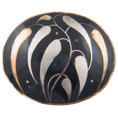 "Josef Hoffmann for Wiener Werkstatte Enamelled, Black and White Brooch ""Leaves"" 