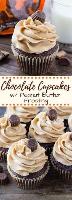 Super soft, perfectly moist Chocolate Cupcakes with Peanut Butter Frosting. If you love peanut butter cups - you NEED to make these chocolate peanut butter cupcakes! #chocolatepeanutbutter #cupcakes #chocolatecupcakes #peanutbutter