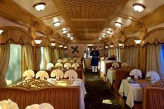 Deccan Odyssey- An example of grandeur and opulence of India's royalty. A train with Presidential suites, Conference hall, Lounge/Bar, Spa, two restaurants, Library, Ayurvedic Massage Center, Gym, Beauty Parlor and a lot more.... Phewww.. Want to visit?