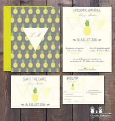 Kit Invitation ANANAS RSVP Save the date par ChouetteLetterpress