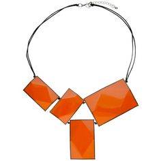 One Button 4 Large Rectangular Facets Necklace, Orange (1.960 RUB) ❤ liked on Polyvore featuring jewelry, necklaces, resin necklace, orange necklace, orange jewelry, string jewelry and faceted necklace