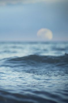 sea, moon, and ocean image