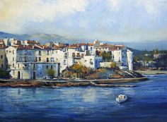 Cadaques in Costa Brava Oil painting by Behshad Arjomandi Cadaques Spain, Costa, Oil Painting On Canvas, Salvador, Wrapped Canvas, Cityscapes, Architecture, Abstract, Authenticity
