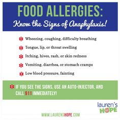 Food allergies: Know the signs of anaphylaxis! #food_allergy #allergies #anaphylaxis #laurenshope #infographic