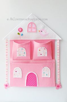 Pink House Bow Holder and wall pocket. $30.00, via Etsy.
