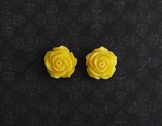 Yellow Rose Flower Girly Plugs  4g 2g 0g 00g by ryarr on Etsy, $12.99