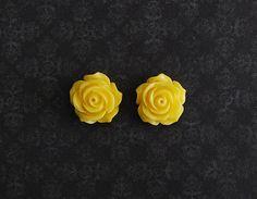 Yellow Rose Flower Girly Plugs  4g 2g 0g 00g by ryarr on Etsy, $12.99