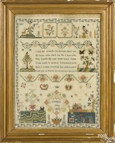 English silk on linen needlework, inscribed Matilda Sims 1810, with a trailing vine border, 16'' x 12 3/4''. Provenance: The Estate of…