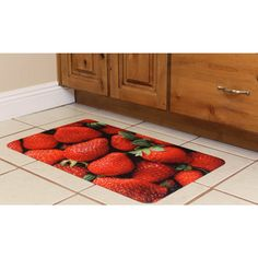 The Somette strawberries memory foam anti-fatigue comfort mat will bring life to any floor in your home. The mat blends sophisticated, high-definition imagery with the plush feel of memory foam. This