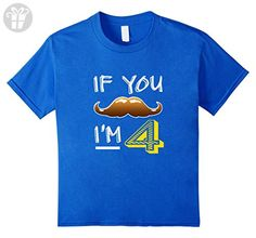 Kids Funny If You Mustache Me 4 T-shirt 4th Four Birthday Party 4 Royal Blue - Birthday shirts (*Amazon Partner-Link)