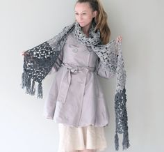 Extra Long Scarf Hand Crochet / Awesome Handmade by Accessodium, $150.00