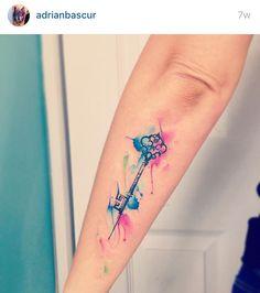 203da459a Watercolor key tattoo Disney Key Tattoo, Tattoo Key, Disney Tattoos, Small Key  Tattoos