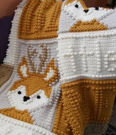 Oh deer, it's a baby blanket. An original design that requires only three crochet stitches - chain stitch, single crochet and the popcorn stitch. Baby Boy Crochet Blanket, Baby Boy Blankets, Baby Afghans, Crochet Blanket Patterns, Baby Patterns, Crochet Blankets, Crochet Chain Stitch, Bobble Stitch, Crochet Stitches