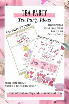 This is our Tea Party Invitation. If you are looking for some Kids Birthday Party Invite Ideas then our Tea Party Invitations for Kids is a great Tea Party Kids Birthday Party Invitations, Birthday Party Games, Party Favors, Printable Invitations, Printable Tags, Printables, Kids Party Tables, Valentine's Day Party Games, Cheap Party Decorations