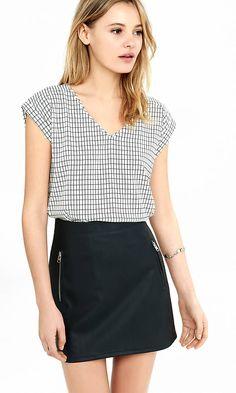 Windowpane Plaid Silky V-neck Blouse- Love the shirt! | Express