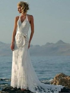 2014 Spring Style Sheath / Column Halter Embroidery Sleeveless Sweep / Brush Train Organza Wedding Dresses For Brides # THIS is my favorite so far! # great for beach to country to formal - any destination # simple and elegant - halters are very flattering.< $500 and < $300 - inexpensive wedding gown/dress