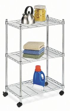 Microwave Cart Stand 3 Shelve Chrome Rolling Garage Portable