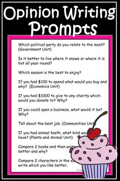 Opinion Writing Prompts. Extra ideas on how to get your students started on their Opinion Writing.