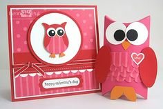 adorable Valentine card & decorated pillow box from The Queen's Scene: Whooo Loves Ya!!!  ... SU owl punched in pinks ... too cute!! ... Stampin' Up!