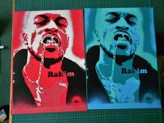painting on card of Rakim,stencils & spraypaints,hip hop art,rap,music,culture,american,pop,custom,portrait,urban,reds,pinks,blues,greens by AbstractGraffitiShop on Etsy