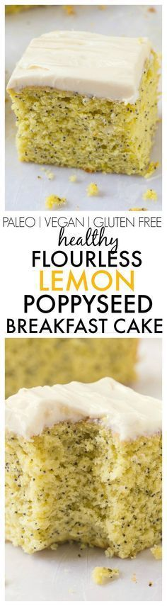 Healthy Flourless Lemon Poppy Seed Breakfast Cake- Light and fluffy on the inside tender on the outside an accidentally healthy breakfast dessert or snack- Absolutely NO butter oil flour or sugar! {vegan gluten free paleo recipe}-