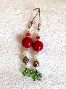 Holiday Red Marbled Ceramic Bead,Pearl&Green Crystal,Gold Wire Earrings,Handmade  | eBay