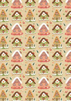 Christmas Scrapbook Paper - Gingerbread Houses