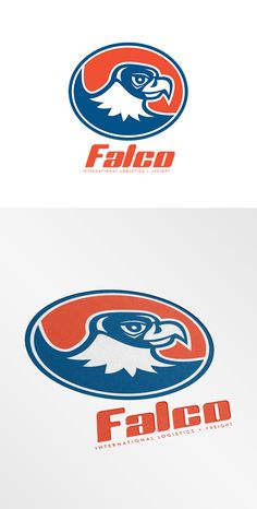 Falco International Logistics Logo. Logo showing illustration of a falcon hawk eagle bird head looking to side set inside oval on isolated background done in retro style. 100% re-sizeable