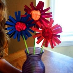 Celebrate Earth Day with some affordable, recycled daisies. These are such cute crafts for kids to make.