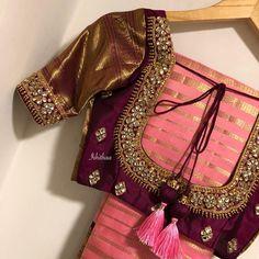 This beautiful shade of pink saree and burgundy blouse ! Custom made for Dear Shripriya mam with Semi precious Jaipur Gem Stones ! Wedding Saree Blouse Designs, Pattu Saree Blouse Designs, Fancy Blouse Designs, Stylish Blouse Design, Gold Designs, Wedding Sarees, Jaipur, Sari Rose, Ties