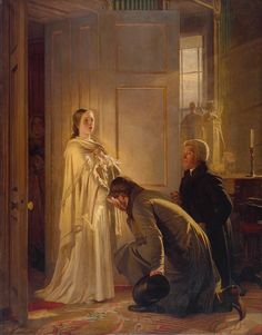 Henry Tanworth Wells: Victoria Regina 1880 The scene depicts the Prime Minister bringing the news that the King has died and that she is now Queen. Victoria was called in the very early morning and appeared in he nightdress and a shawl. Queen Victoria Children, Queen Victoria Family, Queen Victoria Prince Albert, Victoria And Albert, Victoria Reign, Victoria's Children, Princesa Victoria, Victorian Paintings, Victorian Portraits